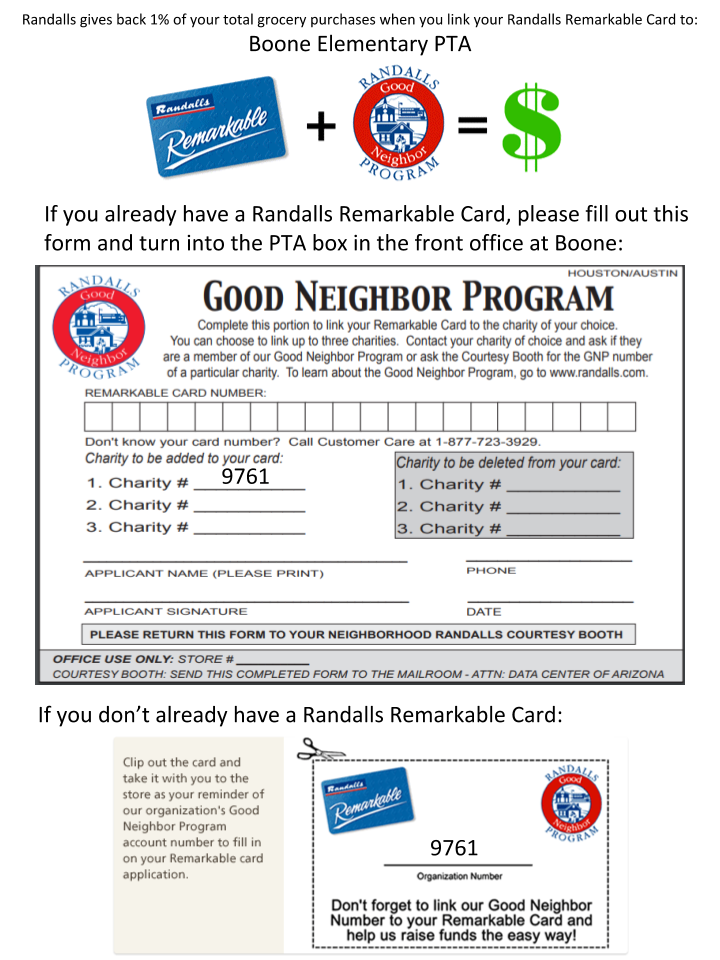 Randall's Good Neighbor Card